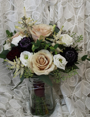 Blush and Burgundy bouquet $95.00
